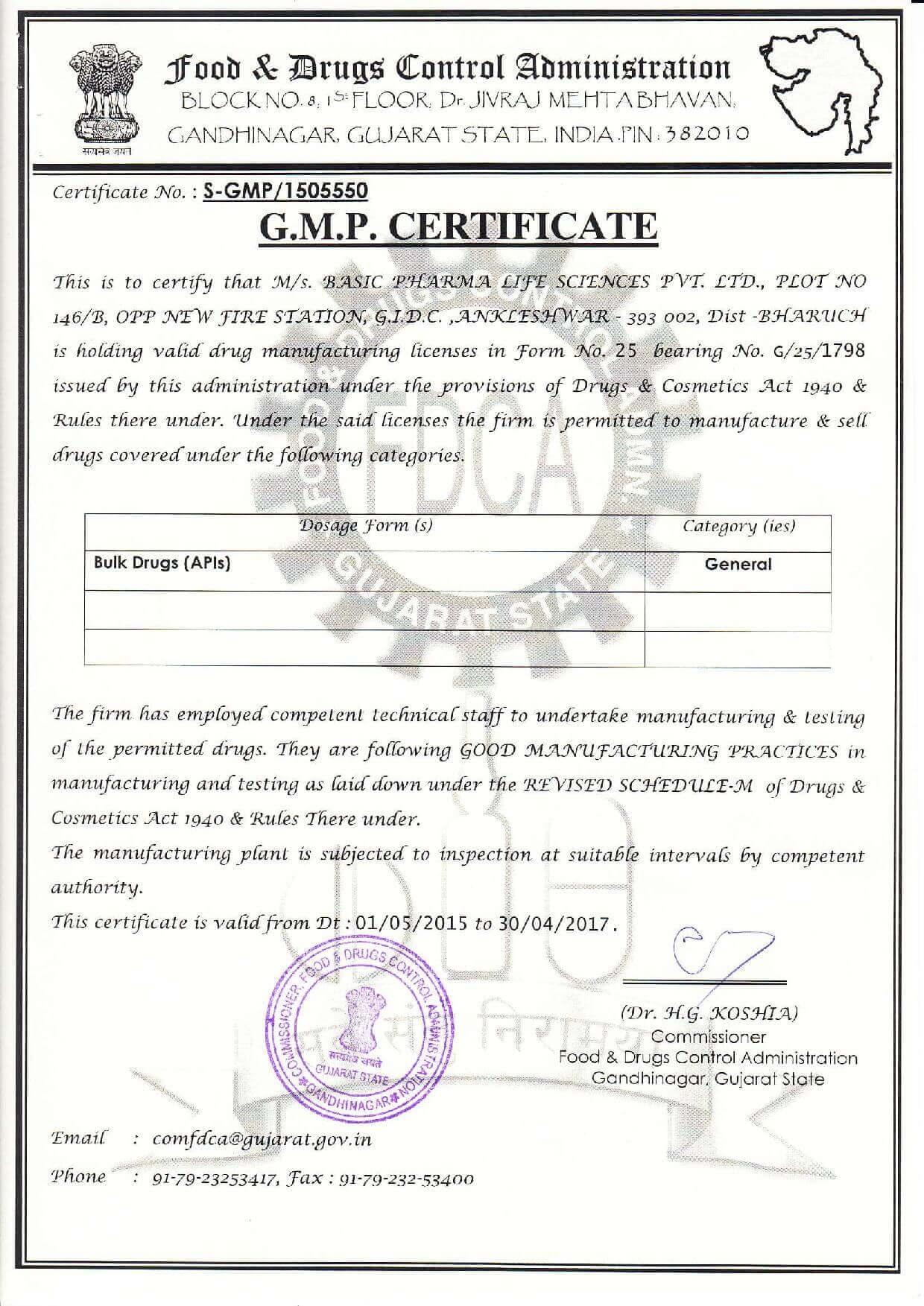 Certificates Of Basic Pharma